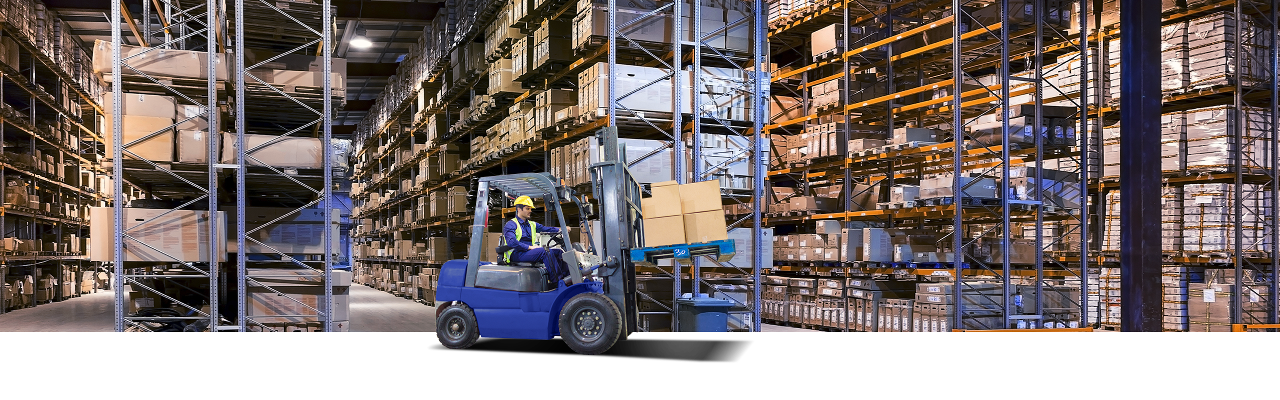 Dynevor Express forklift moving freight in a warehouse